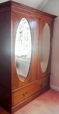Antique Double Mirror Fronted Mahogany Inlaid Wardrobe with Drawer under. Used