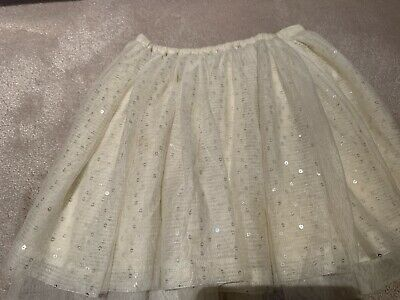 M&S Autograph Girls Cream Pretty Sparkly Sequin Frill Layer Skirt Age 7-8 Yr Vgc