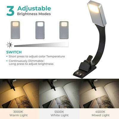 Clip-on Reading Light Flexible Adjustable USB Rechargeable Portable for Readers