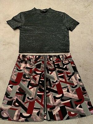 River Island Girls Outfit Sparkly Skirt & Top Outfit Age 5 Years Vgc