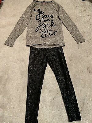 F&F Tesco Girls Sparkly Jumper Top & Leggings Outfit 8-9 Yrs Vgc