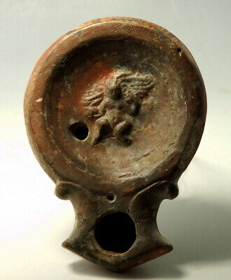 Roman Terracotta Oil Lamp Decorated With Cupid (M820)
