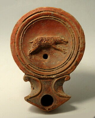Roman Terracotta Oil Lamp Decorated With A Bear. Fine Detail (M821)
