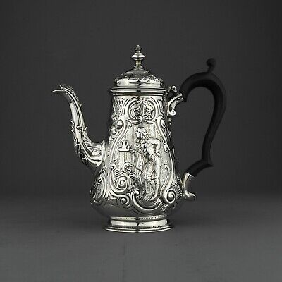 Ornate Antique George III Solid Sterling Silver Coffee Pot, London 1793.
