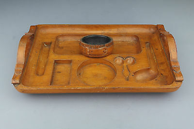 Very Unusual Antique Smokers Tray for Pipe, Cigar Cutter and Ashtray. Ca. 1900