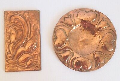 Arts & Crafts Copper Plate/Pin Dish & A Copper Plaque