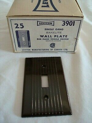 25 Vintage Leviton Bakelite Single Gang Brown Ribbed Toggle Wall Plate Nos 3901