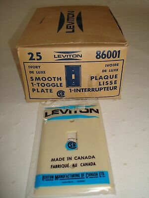 25 Vintage Leviton Bakelite Single Gang Smooth Ivory Toggle Wall Plate Nos 86001