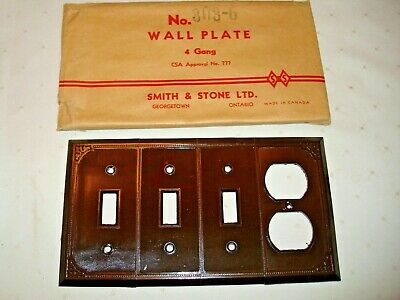 Vintage Smith & Stone Bakelite 4 Gang Brown Ribbed Combo Wall Plate Nos 303-6