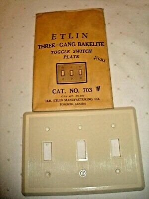 Vintage Etlin Bakelite 3 Gang Ivory Ribbed Toggle Wall Plate New Old Stock 703