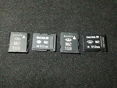 X4 M2 Memory Stick Card Job Lot 1GB 512MB Sony SanDisk