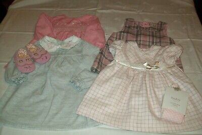 Baby girls dresses from TU/Next/Spanish Alber aged 3-6 months with shoes/tights
