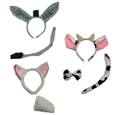 Childrens Adults Animal Ears Tail Fancy Dress Nativity Play Christmas Costume