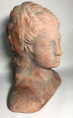 "Rare Ancient Roman / Greek Terracotta Female Woman Antique Bust - 7 3/4"" Tall"