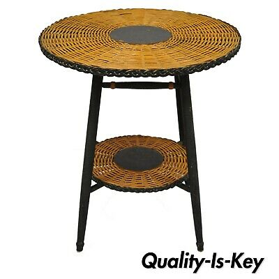 Antique 19th Century Two Tier Wicker Rattan Round Victorian Lamp Fern Table