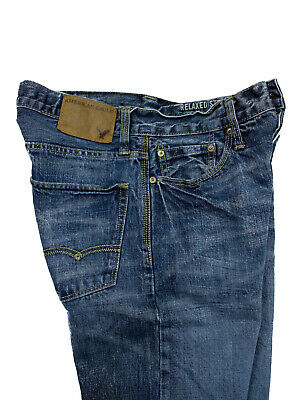 American Eagle Mens Button Fly Blue Jeans Relaxed Straight Distressed Size 28x30