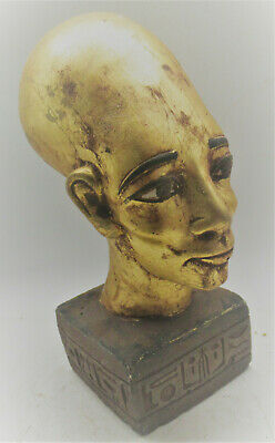 Superb Ancient Egyptian Gold Gilded Head Statue Of Ahkenaton Very Beautiful
