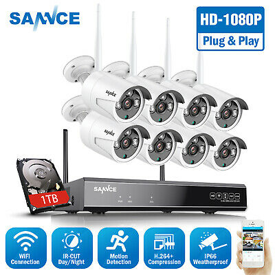 SANNCE 8CH Outdoor Wireless Security System HD 1080P NVR 2MP Video IP Camera 1TB