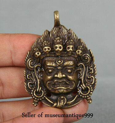 5CM Old Chinese Bronze Tibet Mahakala Wrathful Deity Head Amulet Pendant