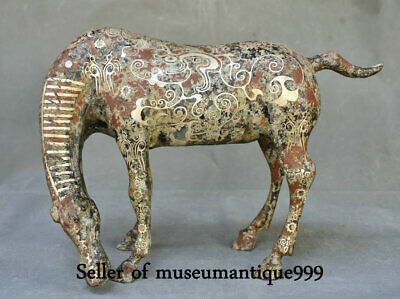 """12.4"""" Ancient Chinese Bronze Ware Silver Horse equine Animal Statue Sculpture"""