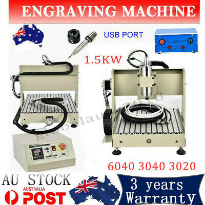 1.5KW 4AXIS 3020/3040/6040 USB CNC Router Engraver Carving Milling Machine AU