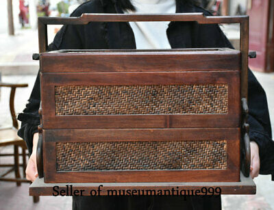 China Huanghuali Wood Dynasty Carved Bamboo Portable Food Box Antique furniture