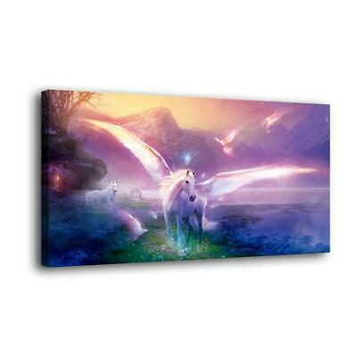 """12""""x24""""Unicorn with wings HD Canvas prints Painting Home decor Picture Wall art"""