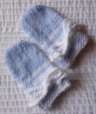 BABY MITTENS. HAND-KNITTED BY ME Pale Baby Blue with White. Extra Soft. Boy/Girl