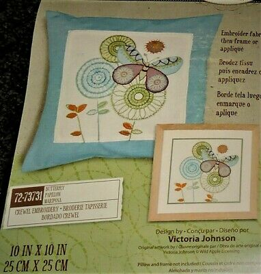 Dimensions Crewel Embroidery Kit Butterfly Flowers Printed Cotton Modern Stylish