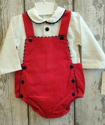 Spanish Style Baby Boy 24m Toddler Red Dungarees and Shirt Set 3m
