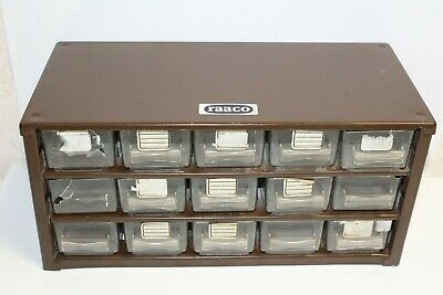 OLD STYLE RAACO WORKSHOP STORAGE ORGANISER FOR SMALL BITS / SCREWS Etc - USED