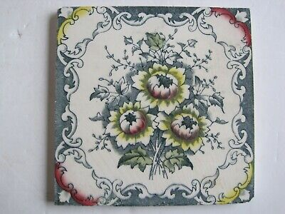Antique Victorian Transfer Print & Tint Triple Floral Tile - Sherwin & Cotton?