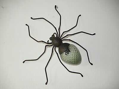 ~1950 Mid Century Spider Sconce Wall Light Green Murano Glass Body Brutalist~