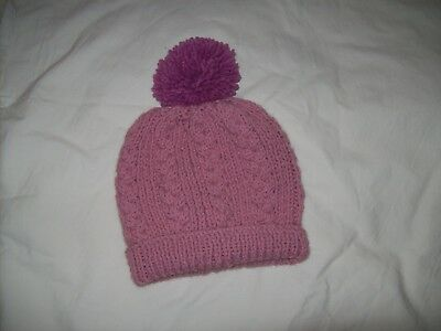 Ladies Hand Knit Pale Pink Bobble Hat with Darker Pink Bobble - BNWOT