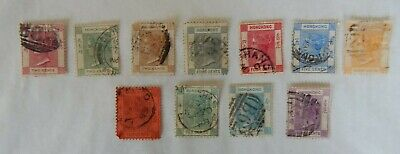 11 x QV QUEEN VICTORIA HONG KONG STAMPS USED TO THIRTY CENTS