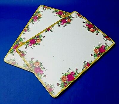 """ROYAL ALBERT OLD COUNTRY ROSES  2 x  Large Serving Mats Unused 11 1/4"""" x, 8 1/2"""""""