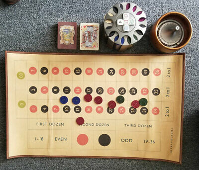 Luxurious Alfred Dunhill Portable Casino Set Roulette Wheel, Cards, Dice, Chips