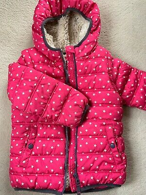 MINI BODEN Girls Pink Star Puffer Coat. Fleece Lined. Detachable Arms - Age 5-6