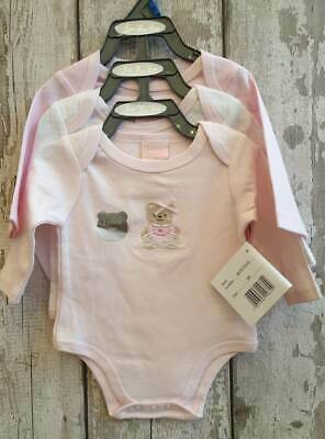 Baby Girl 3 Pack Pink Long Sleeved Bodysuits / Vests.