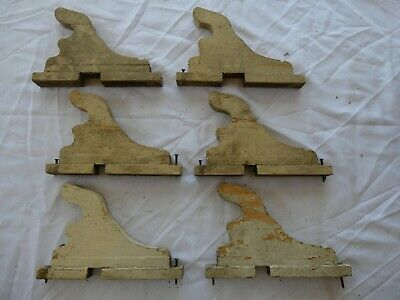 lot of 6 Antique wooden curtain rod brackets Victorian pole holders supports