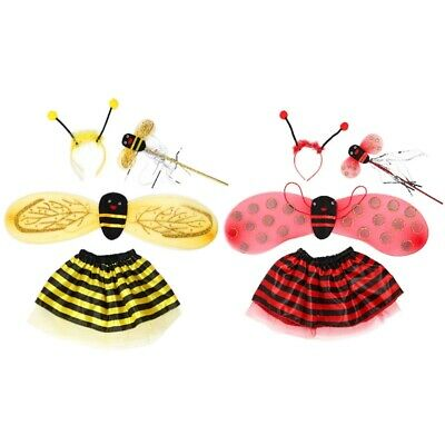 3Pcs Bumblebee Wings Set Girls Fancy Dress Bug Insect Kids Childs Costume