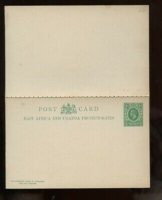 British Commonwealth East Africa & Uganda KEVII Message&Reply Postal Card UNUSED