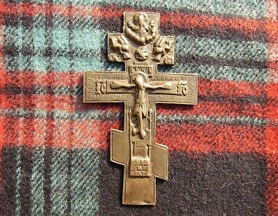 ANTIQUE 18-19th Russian Orthodox Big Bronze Cross Old Church Christian