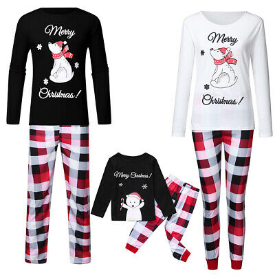 Family Matching Adult Kid Christmas Bear Pyjamas Xmas Nightwear Pajamas PJs Sets