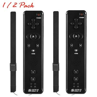 Black 2 in 1 Built in Motion Plus Remote Controller For Nintendo Wii / Wii U
