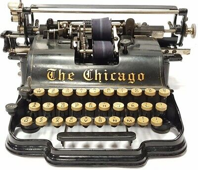 ►Antigua maquina de escribir rare antique CHICAGO  TYPEWRITER circa 1899 ►