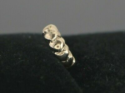 Retired Pandora 585 14K Solid Yellow Gold Heart Row Spacer Bracelet Charm