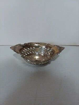 """Gorham Strasbourg Pierced Sterling Nut Cup A4780 - 3 3/4"""" By 2 1/2"""" By 1"""""""