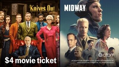 $4 Atom Movie Midway or Knives Out tickets Exp 11/18/2019