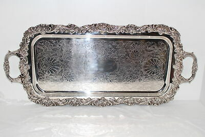 """Vintage Reed & Barton Sheffield Silverplate 21.5"""" Serving/Cocktail Tray"""